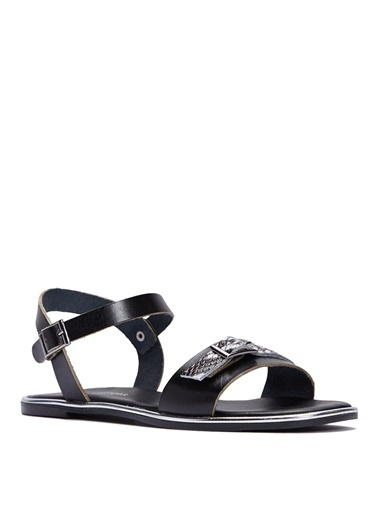 Sole Sisters Düz Sandalet Siyah - Kalette Siyah